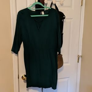 Green H&M dress with drawstring bow at neckline